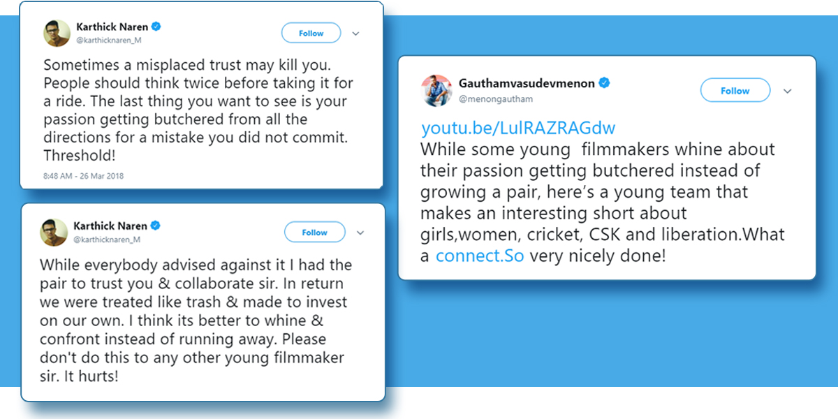An Angry Tweet By Karthick Naren On Being Taken For A 'Ride' By Gautham Menon Opens Up A Can Of Worms, Film Companion