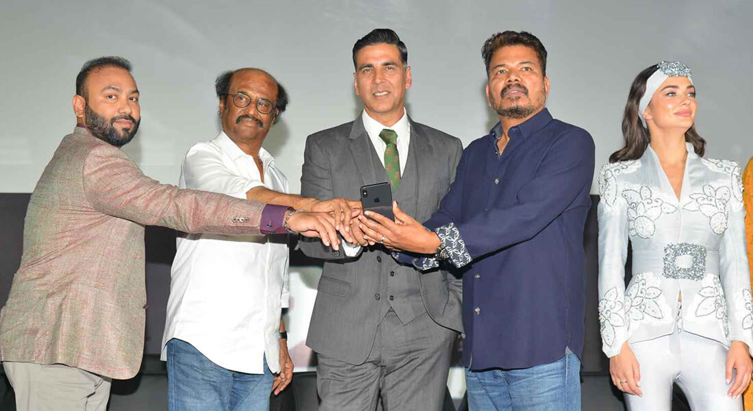 rajinikanth, shankar and Akshay Kumar at the trailer launch of 2.0