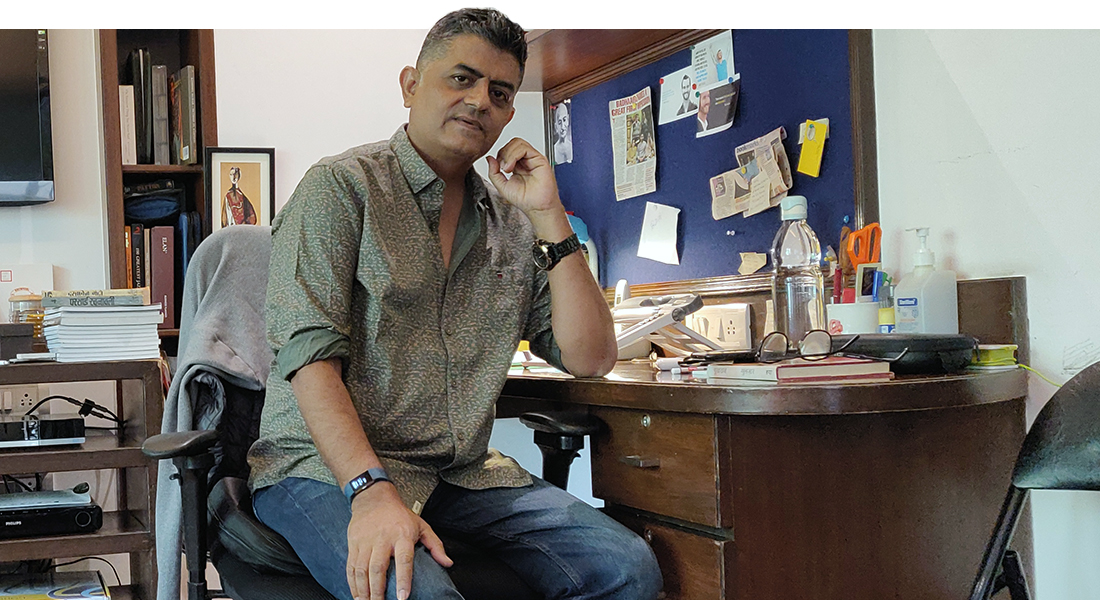 gajraj rao at his office in Mumbai