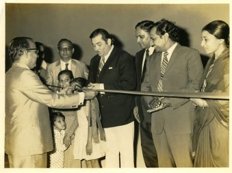 Filmmaker Raj Kapoor at the opening of his film Bobby at Chandan in 1973.