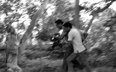 Nemai Ghosh on sets of Satyajit Ray
