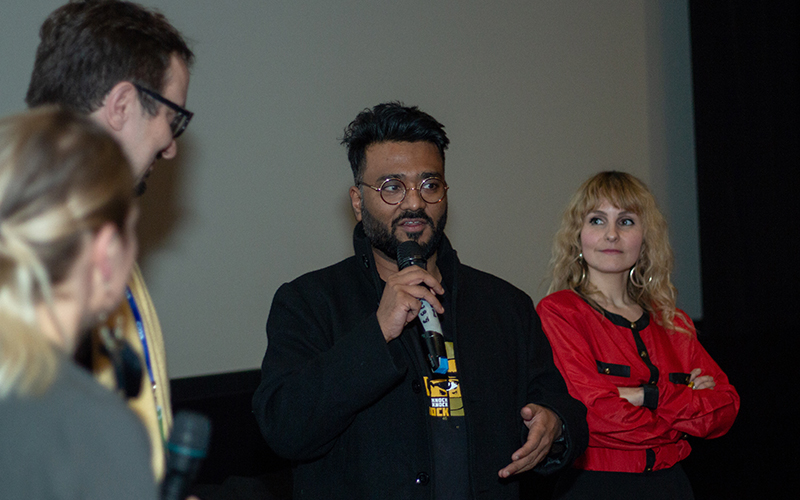 Caption: Meeting our audience with fellow filmmakers Jorg Tittel (co-director of NYET, the Brexit short with Olivia Coleman) and Dora Nedeczky (producer of Peter Strickland's GUO4)