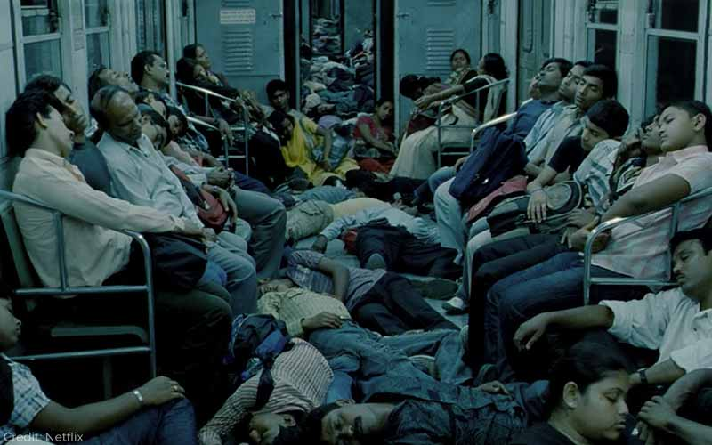 The aftermath of the Metro terrorist attack. Ghosh says he couldn't have had this as his first scene or audiences would be confused.