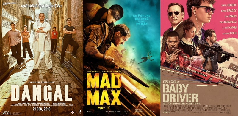 Dangal Mad Max Fury Road Baby Driver Motivation Movies
